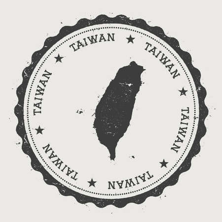 Taiwan, Republic Of China hipster round rubber stamp with country map. Vintage passport stamp with circular text and stars, vector illustration.