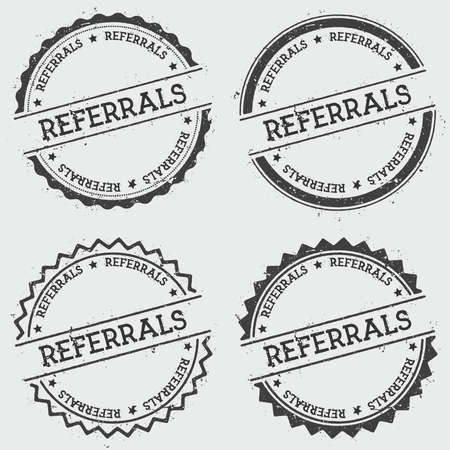 Referrals insignia stamp isolated on white background. Grunge round hipster seal with text, ink texture and splatter and blots, vector illustration.