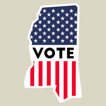 USA presidential election 2016 vote sticker. Mississippi state map outline with US flag. Vote sticker vector illustration.