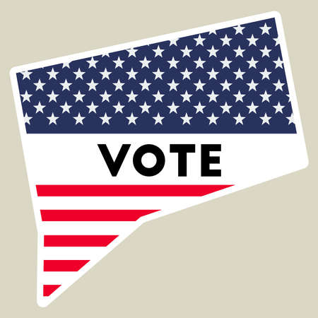 USA presidential election 2016 vote sticker. Connecticut state map outline with US flag. Vote sticker vector illustration.