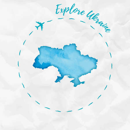 Watercolor map in turquoise colors. Explore Ukraine poster with airplane trace and hand painted watercolor map on crumpled paper vector illustration. Illustration