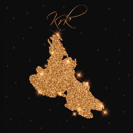 Krk map filled with golden glitter. Luxurious design element, vector illustration. Ilustrace