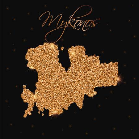 Mykonos map filled with golden glitter. Luxurious design element, vector illustration.