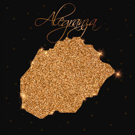Alegranza map filled with golden glitter. Luxurious design element, vector illustration.