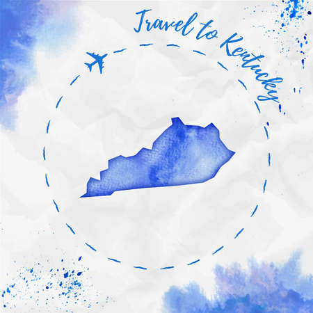 Kentucky watercolor us state map in blue colors. Travel to Kentucky poster with airplane trace and handpainted watercolor map on crumpled paper. Vector illustration.