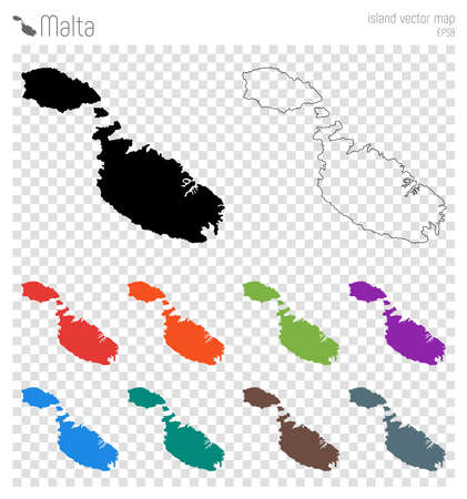 Malta high detailed map. Island silhouette icon. Isolated Malta black map outline. Vector illustration.