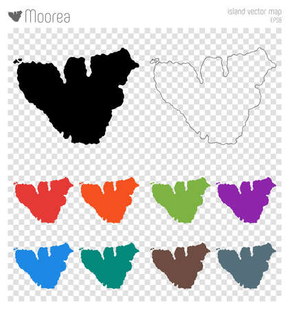 Moorea high detailed map. Island silhouette icon. Isolated Moorea black map outline. Vector illustration.
