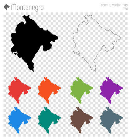 Montenegro high detailed map. Country silhouette icon. Isolated Montenegro black map outline. Vector illustration.
