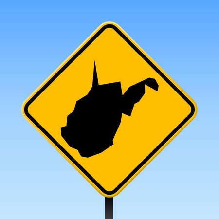 West Virginia map on road sign. Square poster with West Virginia us state map on yellow rhomb road sign. Vector illustration.