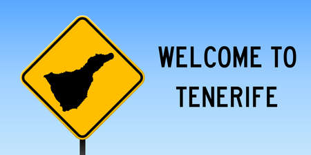 Tenerife map on road sign. Wide poster with Tenerife island map on yellow rhomb road sign. Vector illustration. Ilustração