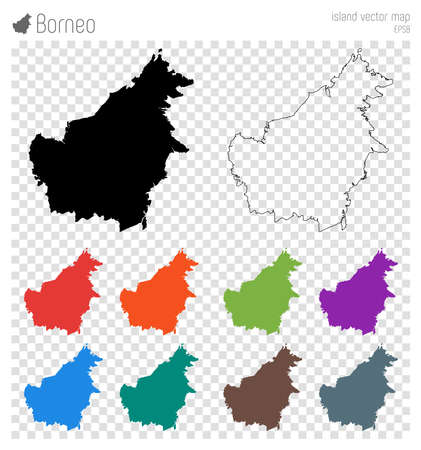Borneo high detailed map. Island silhouette icon. Isolated Borneo black map outline. Vector illustration.