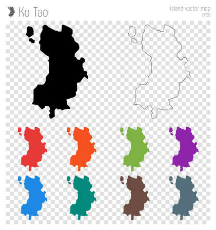 Ko Tao high detailed map. Island silhouette icon. Isolated Ko Tao black map outline. Vector illustration. Illustration