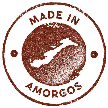 Amorgos map vintage stamp. Retro style handmade label, badge or element for travel souvenirs. Red rubber stamp with island map silhouette. Vector illustration.