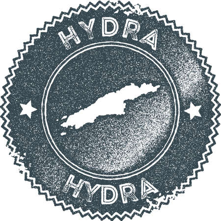 Hydra map vintage stamp illustration