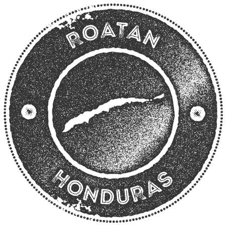 Roatan map vintage stamp. Retro style handmade label, badge or element for travel souvenirs. Dark grey rubber stamp with island map silhouette. Vector illustration. Illustration