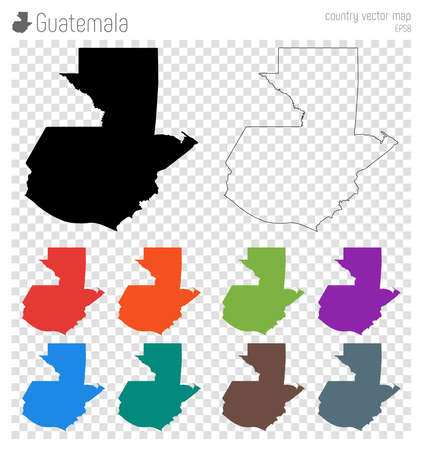Guatemala high detailed map in silhouette icon and isolated Guatemala black map outline.