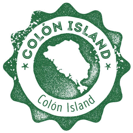 Colon Island map vintage stamp. Retro style handmade label, badge or element for travel souvenirs. Dark green rubber stamp with island map silhouette. Vector illustration.