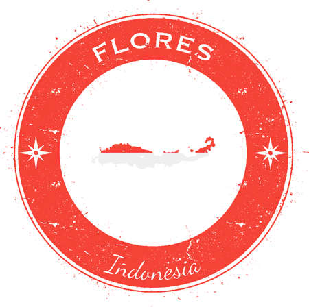 Flores circular patriotic badge. Grunge rubber stamp with island flag, map and name written along circle border, vector illustration.