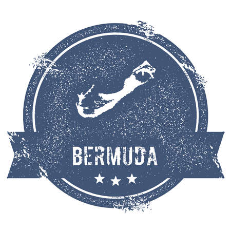 Bermuda sign travel rubber stamp with the name and map of island, vector illustration. Ilustração