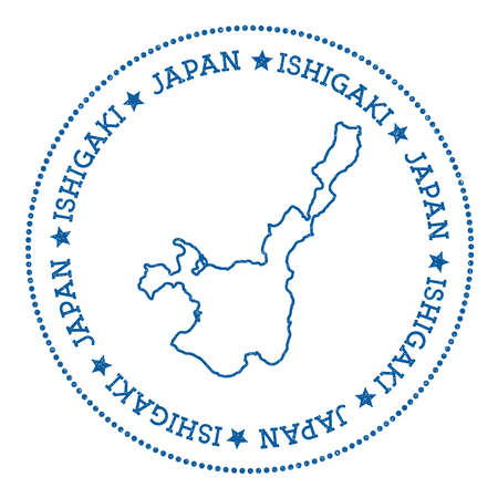 Ishigaki map sticker. Hipster and retro style badge. Minimalistic insignia with round dots border. Island vector illustration.  イラスト・ベクター素材