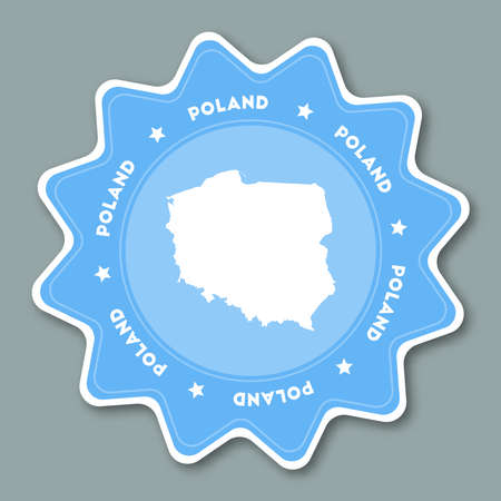 Poland map sticker in trendy colors. Star shaped travel sticker with country name and map. Can be used as icon, badge, label, tag, sign, stamp or emblem. Travel badge vector illustration.