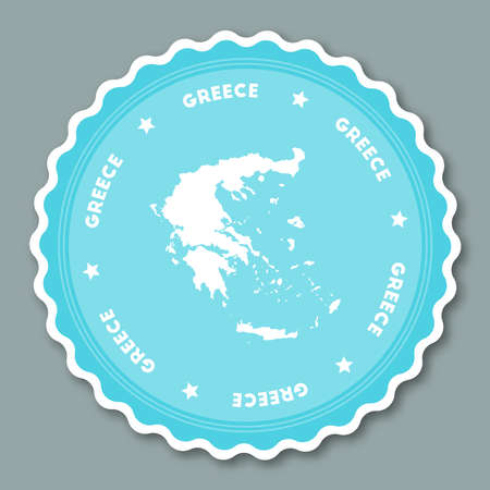 Greece sticker flat design. Round flat style badges of trendy colors with country map and name. Country sticker vector illustration.