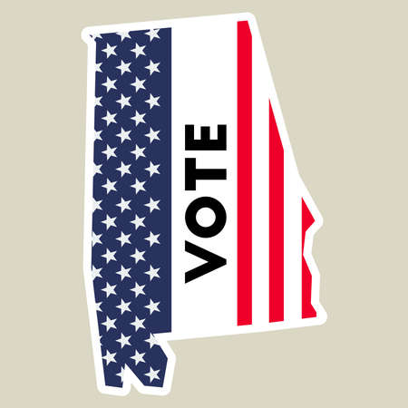 USA presidential election 2016 vote sticker with Alabama state map outline and US flag.
