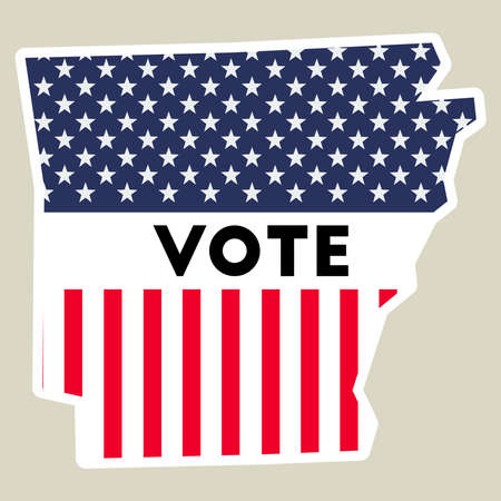 USA presidential election 2016 vote sticker. Arkansas state map outline with US flag. Vote sticker vector illustration. Illustration