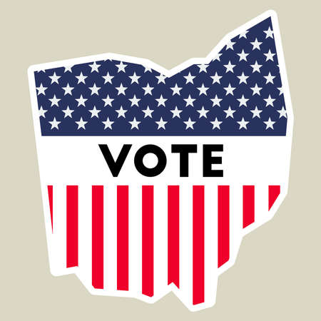 USA presidential election 2016 vote sticker. Ohio state map outline with US flag. Vote sticker vector illustration. 矢量图像