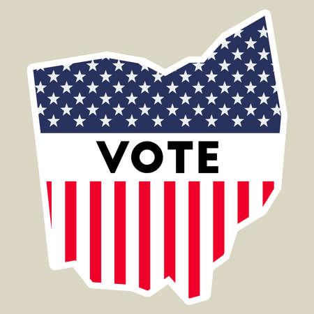 USA presidential election 2016 vote sticker. Ohio state map outline with US flag. Vote sticker vector illustration. Ilustração