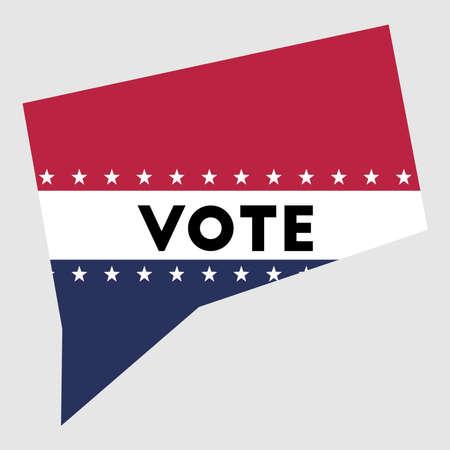 Vote Connecticut state map outline. Patriotic design element to encourage voting in presidential election 2016. Vote Connecticut vector illustration. Illusztráció