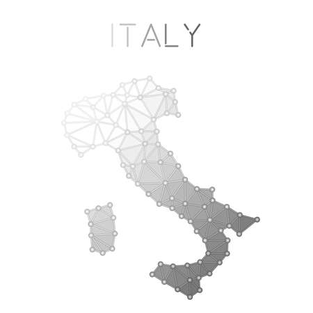 A molecular structure country map of Italy in a  polygonal map design and geometric style.