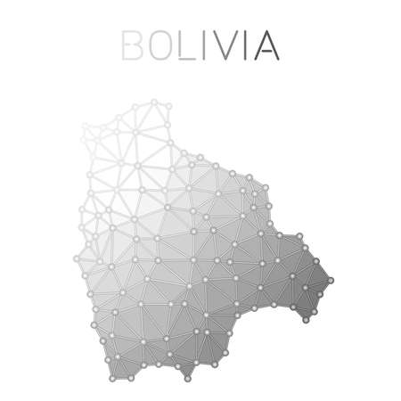 Bolivia polygonal vector map. Molecular structure country map design. Network connections polygonal Bolivia map in geometric style for your infographics. 向量圖像