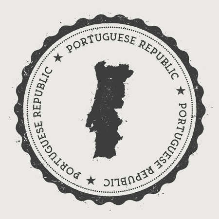Portugal hipster round rubber stamp with country map. Vintage passport stamp with circular text and stars, vector illustration.