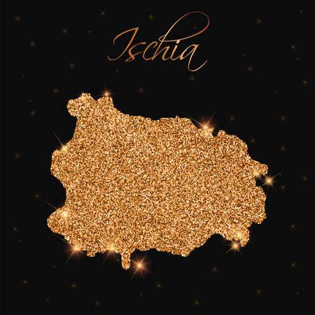 Ischia map filled with golden glitter. Luxurious design element, vector illustration.