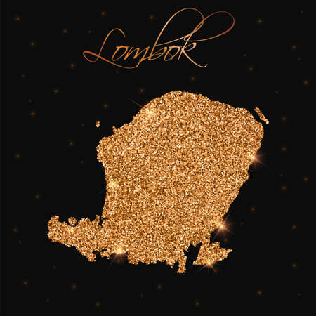 Lombok map filled with golden glitter. Luxurious design element, vector illustration.