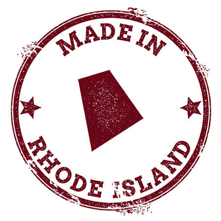Rhode Island vector seal. Vintage USA state map stamp. Grunge rubber stamp with Made in Rhode Island text and USA state map, vector illustration.