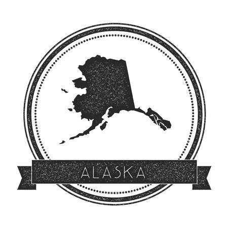 Alaska vector map stamp. Retro distressed insignia with US state map. Hipster round rubber stamp with Alaska state text banner, USA state map vector illustration.