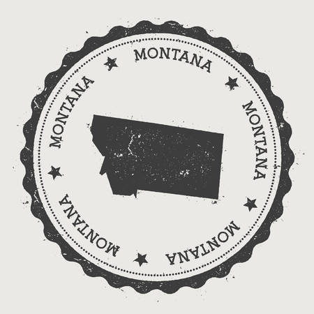 Montana vector sticker. Hipster round rubber stamp with US state map. Vintage passport stamp with circular Montana text and stars, USA map vector illustration. Illustration