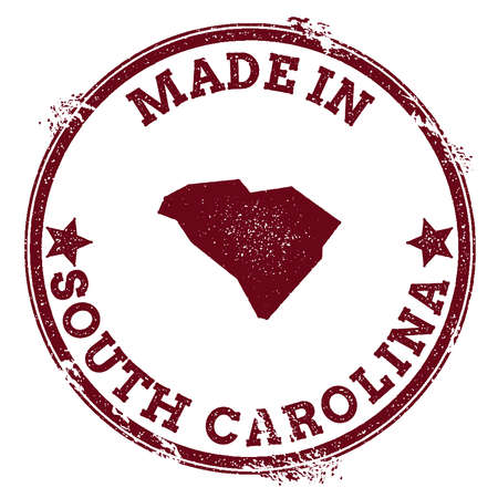 South Carolina vector seal. Vintage USA state map stamp. Grunge rubber stamp with Made in South Carolina text and USA state map, vector illustration. 일러스트
