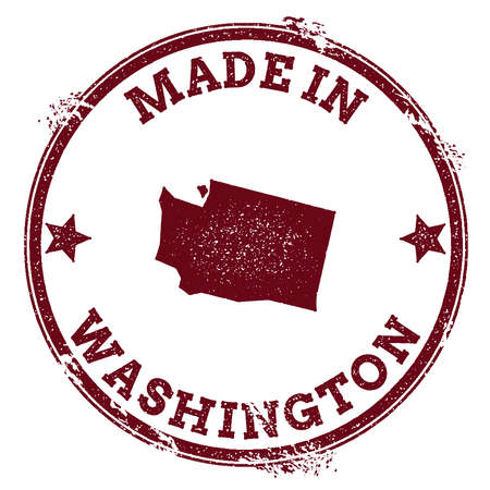 Washington vector seal. Vintage USA state map stamp. Grunge rubber stamp with Made in Washington text and USA state map, vector illustration.