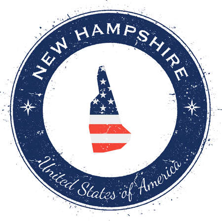 New Hampshire circular patriotic badge. Grunge rubber stamp with USA state flag, map and the New Hampshire written along circle border, vector illustration.