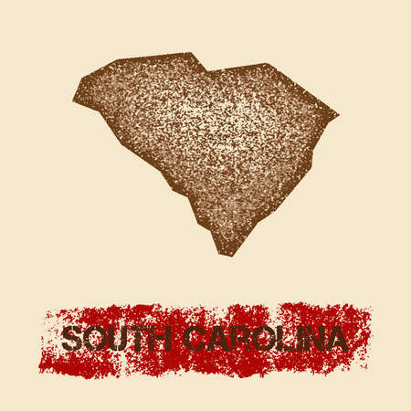 South Carolina distressed map. Grunge patriotic poster with textured state ink stamp and roller paint mark, vector illustration.