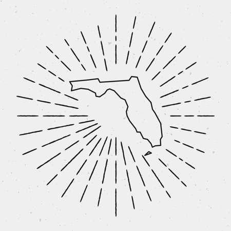Retro Sunburst Hipster Design. Florida Map Surrounded by Vintage Sunburst Rays. Trendy Hand Drawn Sun Rays Black Element on White Background.
