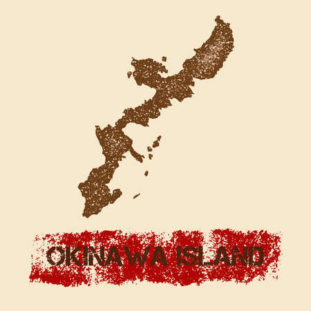 Okinawa Island distressed map. Grunge patriotic poster with textured island ink stamp and roller paint mark, vector illustration.