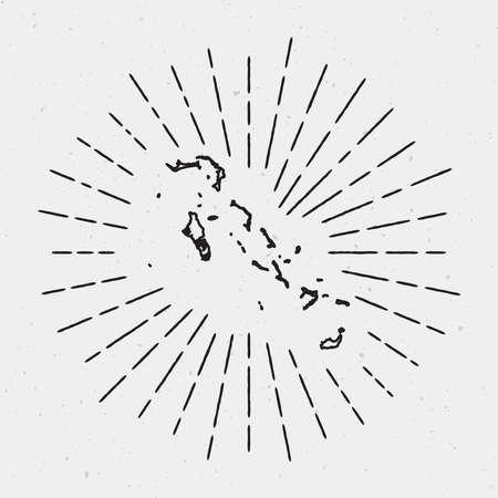 Retro Sunburst Hipster Design. Bahamas Map Surrounded by Vintage Sunburst Rays. Trendy Hand Drawn Sun Rays Black Element on White Background.