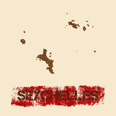 Seychelles distressed map. Grunge patriotic poster with textured island ink stamp and roller paint mark, vector illustration.