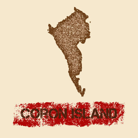 Coron Island distressed map. Grunge patriotic poster with textured island ink stamp and roller paint mark, vector illustration. Иллюстрация
