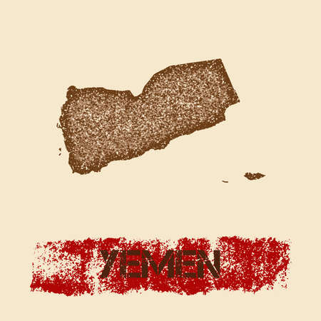 Yemen distressed map. Grunge patriotic poster with textured country ink stamp and roller paint mark, vector illustration.