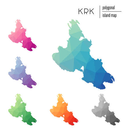 Set of vector polygonal Krk maps filled with bright gradient of low poly art. Multicolored island outline in geometric style for your infographics.